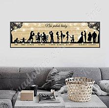 Grafika - Časová os na imitácii dreva - 8610823_