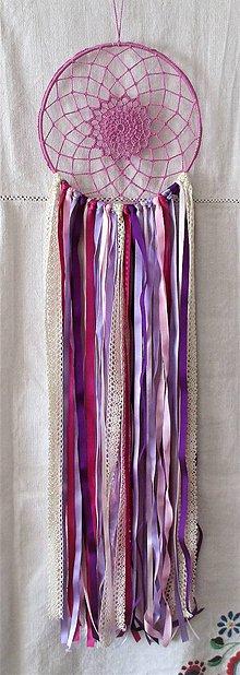 Dekorácie - Lapač snov - fialový, väčší - 8608524_
