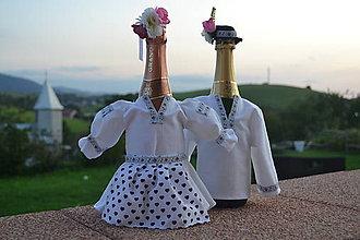 Nádoby - Ženích a nevesta folk- oblečenie na šampanské - 8610065_