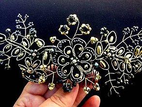 Ozdoby do vlasov - čierny čipkový hrebienok so zlatým lemovaním - 8607987_