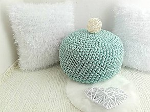 Úžitkový textil - Háčkovaný PUF svetlý mentol bavlna - 8607791_