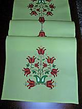 Úžitkový textil - Maľovaný obrus stredový - žlto zelený, 40 x 140 cm - 8609061_
