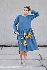 - Dámske ľanové šaty bez gombíkov dlhý rukáv - rôzne farby - 8610529_