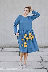 Šaty - Dámske ľanové šaty bez gombíkov dlhý rukáv - rôzne farby - 8610529_