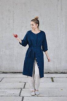Kabáty - Dámske ľanové šaty/kabát so skrytým zapínaním - rôzne farby - 8608452_