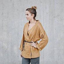Topy - Dámske ľanové kimono dlhý rukáv - rôzne farby - 8608478_