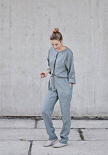 Nohavice - Dámsky ľanový overal - rôzne farby - 8608571_