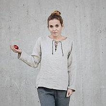 Topy - Dámsky ľanový top s koženou šnúrkou - rôzne farby - 8610504_