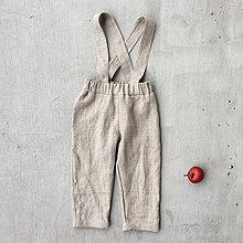 Detské oblečenie - Detské ľanové nohavice na traky - natural - 8610611_