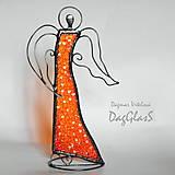 Dekorácie - Dekorácia ANJEL v pohybe - vitráž - 8609417_