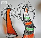 Dekorácie - Dekorácia ANJEL v pohybe - vitráž - 8609420_