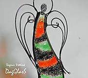 Dekorácie - Dekorácia ANJEL v pohybe - vitráž - 8609425_