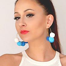 Náušnice - Zlaté kruhové náušnice s brmbolcami - modré ombre - 8607330_