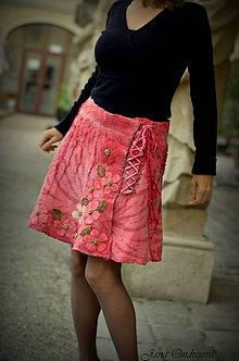 Sukne - Plstená hodvábno vlnená sukňa malinová - 8610765_