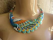 Náhrdelníky - Masívny náhrdelník páv - 8607883_