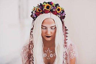 """Ozdoby do vlasov - Svadobná jesenná parta """"súmrak v lupeňoch slnečníc"""" - 8608480_"""