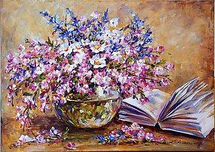 Obrazy - Romantické zátišie s knihou - 8608510_