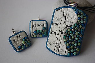 Sady šperkov - Kamienky v stene tyrkysové - 8608254_