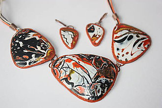 Sady šperkov - Oranžovo-biele mokumé... - 8608336_