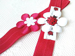 Ozdoby do vlasov - Baby girl elastic headbands (red/white) - 8613251_
