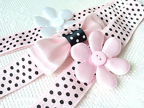 Ozdoby do vlasov - Baby girl elastic headbands (pink/white/black dots) - 8613341_