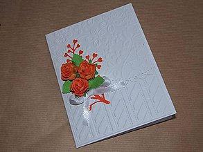 Papiernictvo - Svadobná kytička oranžová - 8614502_