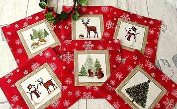 Úžitkový textil - Winter Friends  RED... podšálky 6 ks - 8612889_