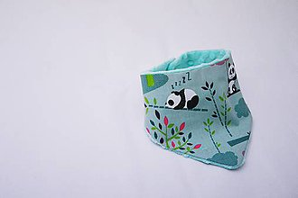 Detské doplnky - Šatka minty malá panda s minky - 8614035_