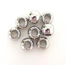 Korálky - Korálky - kovový vzhľad, 8 mm - veľký otvor / 10ks - 8614074_