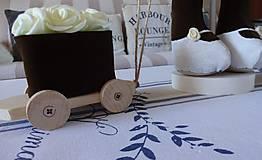 Bábiky - Usmievavý medvedík s vozíčkom - 8611772_