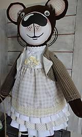 Bábiky - Usmievavý medvedík s vozíčkom - 8611773_
