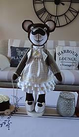 Bábiky - Usmievavý medvedík s vozíčkom - 8611774_
