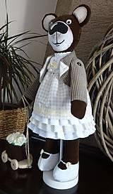 Bábiky - Usmievavý medvedík s vozíčkom - 8611776_
