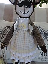 Bábiky - Usmievavý medvedík s vozíčkom - 8611777_