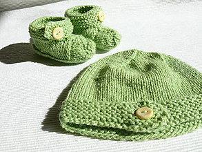 Detské súpravy - Detská čiapočka a papučky - 8613043_