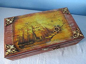 Krabičky - Drevená krabička Na mori - 8612264_
