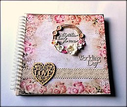 Papiernictvo - Romantický vintage svadobný MAXI album 30x30 cm - 8611953_