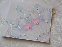 Papiernictvo - Pohľadnica svadobná....belasá - 8612632_