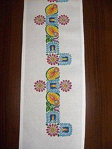 Úžitkový textil - Stredový obrus, maľovaný, Ľudový motív, 20 x 120cm, biely - 8611571_