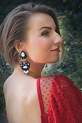 Náušnice - Blue-white soutache earrings - 8611559_
