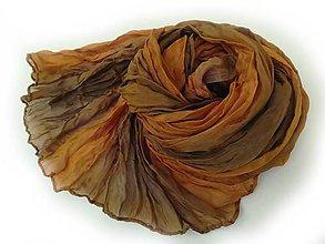 Šály - oranžovo-hnedý hodvábny šál (pléd) skladom:-) - 8614506_