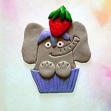 Magnetky - Okydaná zver s jahodou - sloník NA ZÁKAZKU - 8613741_