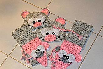 Detské čiapky - Myšky v ružovom - 8618800_