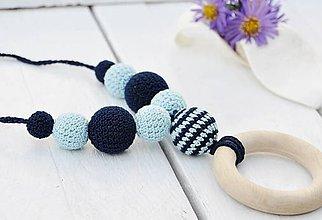 Náhrdelníky - Jazero - háčkovaný, nielen dojčiaci náhrdelník - 8619008_