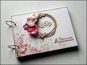 Papiernictvo - Romantický svadobný vintage scrapbook album A5 - 8615451_