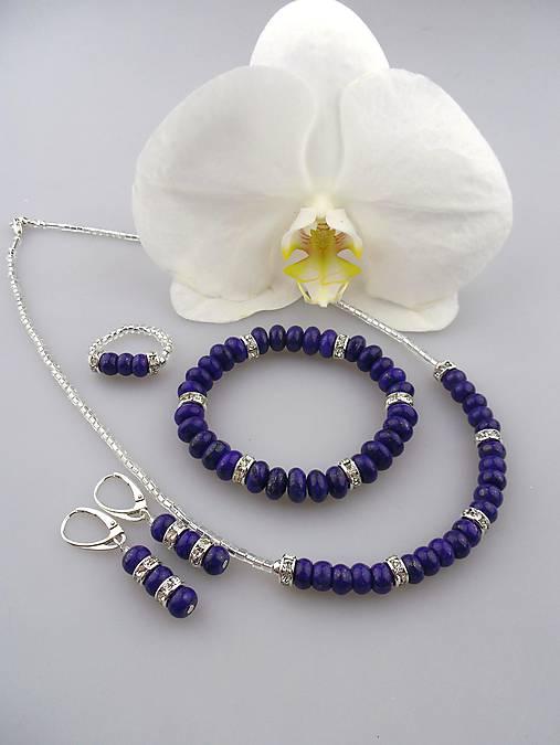 4283cc306 Luxusný set lapis lazuli, striebro - náhrdelník, náušnice, náramok, prsteň