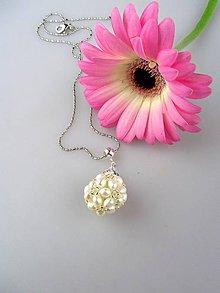 Náhrdelníky - Luxusný prívesok pravé perly, striebro - 8615310_