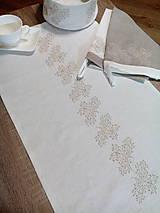 Úžitkový textil - Ľanový obrus - štóla s výšivkou - 8617974_