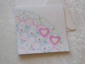 Papiernictvo - Pohľadnica svadobná...krehká krajka - 8615942_