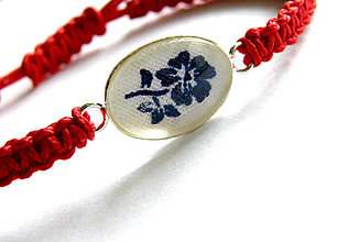 Náramky - oval modrotlac biela - 8616911_